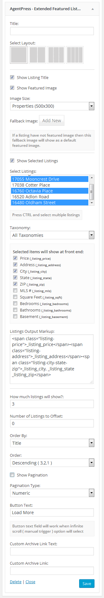 Extended Agentpress Listings Widget