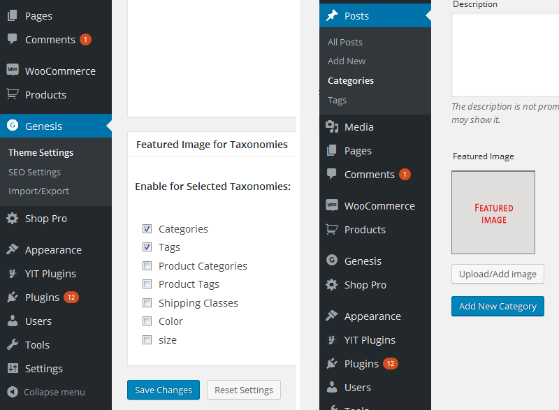 Upload featured Image to taxonomies