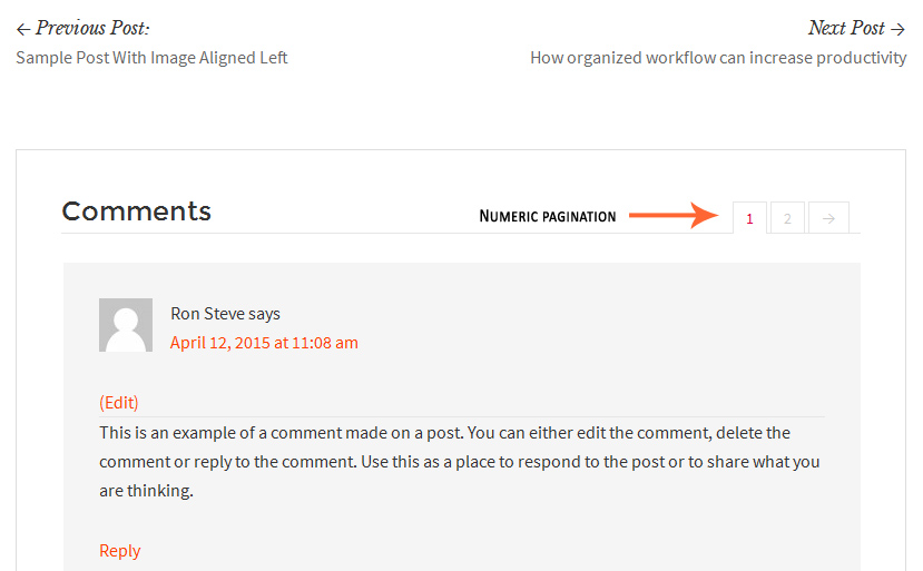 Adding Numeric Pagination in Comments