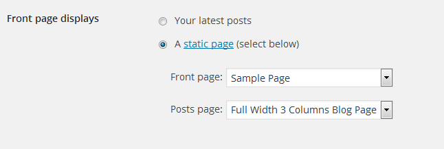 settings-static-front-page